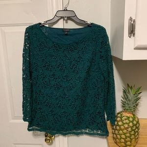 Emerald green lace top cotton lining